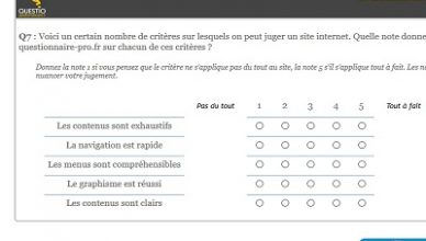 La question tableau de questionnaire-pro