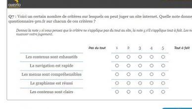 La question tableau de questionnaire-pro