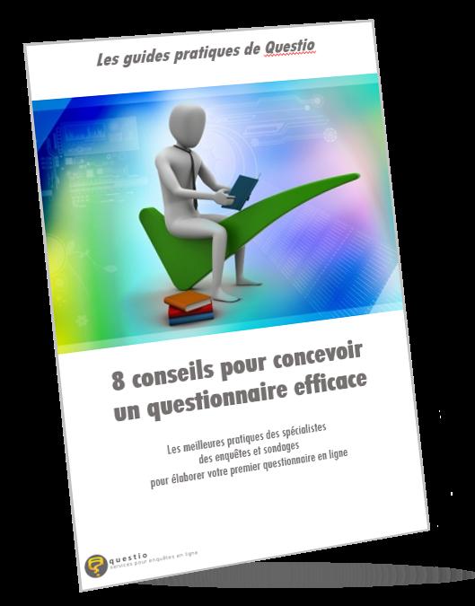 Couverture du livre blanc de Questio intitulé 8 conseils pour concevoir un questionnaire efficace
