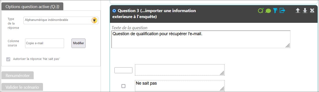 Illustration du paramétrage d'une question de qualification pour récupérer l'e-mail